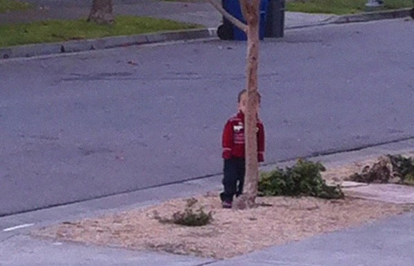 Kids play hide-and-seek